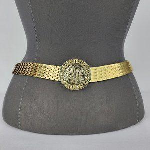 Vintage Gold Medallion Fishscale Belt Size M
